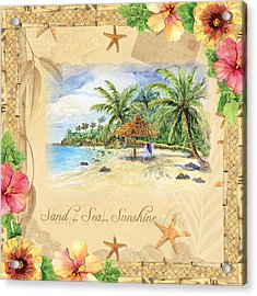 Sand Sea Sunshine On Tropical Beach Shores Acrylic Print by Audrey Jeanne Roberts