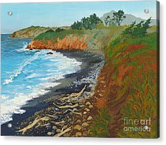 Acrylic Print featuring the painting San Simeon Ca Coast by Katherine Young-Beck