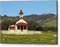 Acrylic Print featuring the photograph San Simeon - Castle And Schoolhouse by Art Block Collections