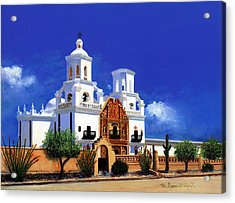 Acrylic Print featuring the painting San Xavier Del Bac Mission by M Diane Bonaparte
