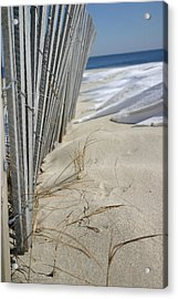 Sand And Snow Acrylic Print by Mary Haber