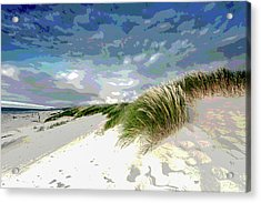 Sand And Surfing Acrylic Print by Charles Shoup