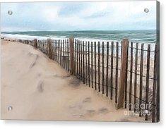 Sand Dune Fence On Outer Banks Ap Acrylic Print
