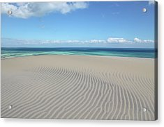 Sand Dune Ripples And The Ocean Beyond Acrylic Print
