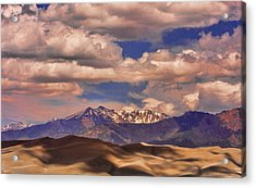 Sand Dunes - Mountains - Snow- Clouds And Shadows Acrylic Print by James BO  Insogna