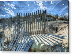 Sand Fence Acrylic Print by Greg Reed