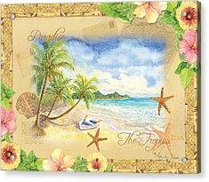 Sand Sea Sunshine On Tropical Beach Shores Acrylic Print