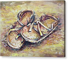 Sandals Acrylic Print by Aaron Spong