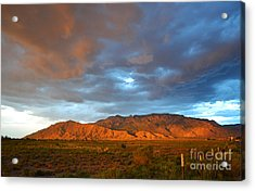 Sandia Mountains Colorful Sunset Acrylic Print by Andrea Hazel Ihlefeld
