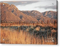 Sandia Mountains Rustic Fence Countryside Acrylic Print by Andrea Hazel Ihlefeld