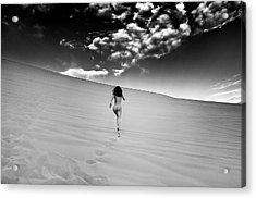 Sandy Dune Nude - Catching The Clouds Acrylic Print