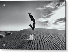 Sandy Dune Nude - The Jump Acrylic Print