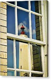 Sandy Hook Lighthouse Reflection Acrylic Print by Gary Slawsky