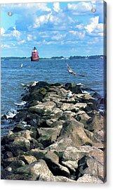 Sandy Point Shoal Lighthouse Off The Rocks Acrylic Print