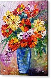 Sandy's Flowers Acrylic Print by Mary Jo Zorad