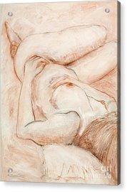 Acrylic Print featuring the drawing Sanguine Nude by Kerryn Madsen-Pietsch