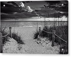 Sanibel Island Beach Access In Black And White Acrylic Print