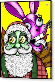Santa And Bunny Acrylic Print by Christopher Capozzi
