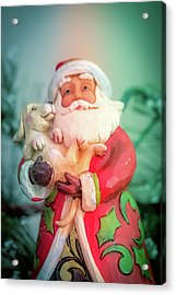 Santa And Lab Pup Acrylic Print