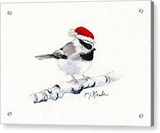 Santa Bandit - Chickadee Acrylic Print