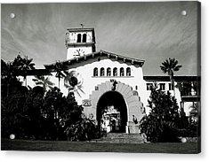 Santa Barbara Courthouse Black And White-by Linda Woods Acrylic Print