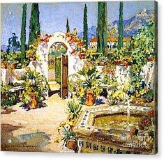 Santa Barbara Courtyard Acrylic Print by Pg Reproductions