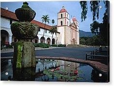 Santa Barbara Mission With Fountain 2 Acrylic Print by Kathy Yates