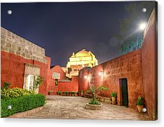 Santa Catalina Monastery Courtyard At Night Acrylic Print by Jess Kraft