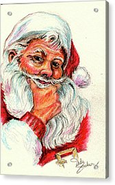 Santa Checking Twice Christmas Image Acrylic Print
