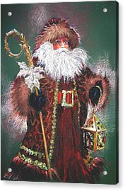 Santa Claus -dressed All In Fur From His Head To His Foot. Acrylic Print by Shelley Schoenherr