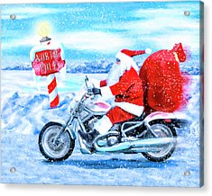 Acrylic Print featuring the mixed media Santa Claus Has A New Ride by Mark Tisdale