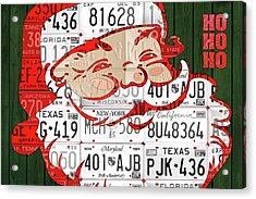 Santa Claus Ho Ho Ho Recycled Vintage Colorful License Plate Art Acrylic Print