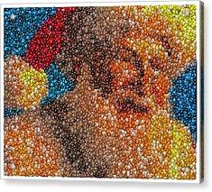Acrylic Print featuring the mixed media Santa Claus Mm Candy Mosaic by Paul Van Scott