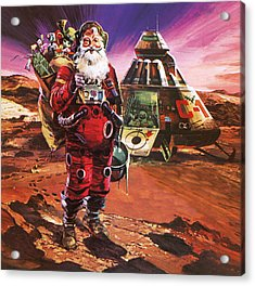 Santa Claus On Mars Acrylic Print by English School