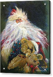 Santa Claus Riding Up Front With The Big Guy  Acrylic Print by Shelley Schoenherr