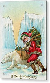 Santa Claus With A Polar Bear At The North Pole Acrylic Print by American School