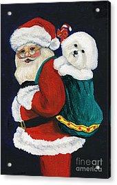 Santa Claus With Bichon Frise Acrylic Print