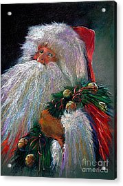 Santa Claus With Sleigh Bells And Wreath  Acrylic Print by Shelley Schoenherr