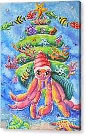 Santa Crab Acrylic Print by Li Newton