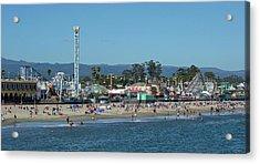 Santa Cruz Boardwalk And Beach - California Acrylic Print by Brendan Reals