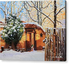 Santa Fe Adobe In Winter Snow Acrylic Print by Gary Kim