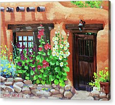 Santa Fe Hollyhocks Acrylic Print by Gary Kim