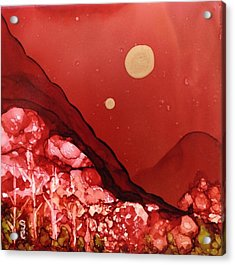 Acrylic Print featuring the painting Santa Fe Moonrise by Suzanne Canner