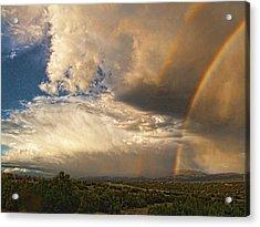 Santa Fe Summer Sky With Double Rainbow Acrylic Print by Paul Cutright