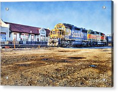 Acrylic Print featuring the photograph Santa Fe Train In Ardmore by Tamyra Ayles