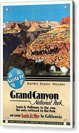 Santa Fe Train To Grand Canyon - Vintage Poster Restored Acrylic Print