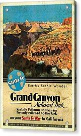 Santa Fe Train To Grand Canyon - Vintage Poster Vintagelized Acrylic Print