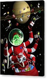Santa In Space Acrylic Print by Alex Tomlinson