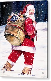 Santa In The Snow Acrylic Print