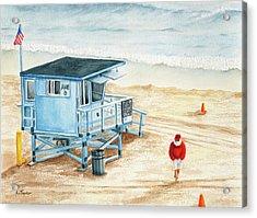 Santa Is On The Beach Acrylic Print